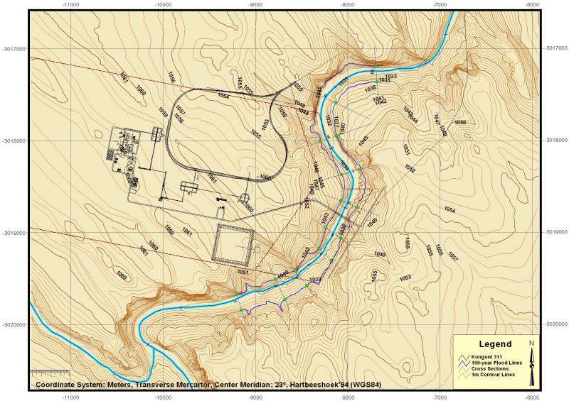 Gamogara River 100-year flood lines